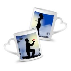 Mugs personnalisés céramique coeur duo