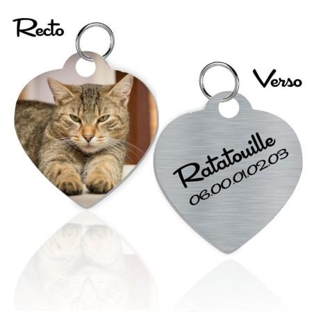 Médaille d'identification cœur pour chat