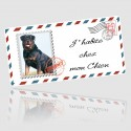 Plaque chien imitation lettre personnalisée