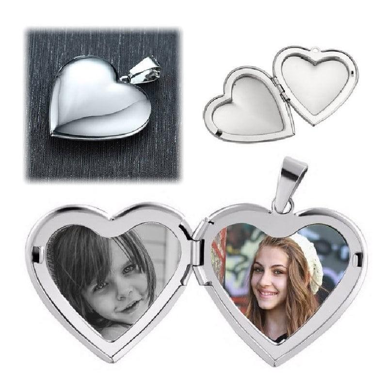 Pendentif coeur argenté personnalisable avec deux photos
