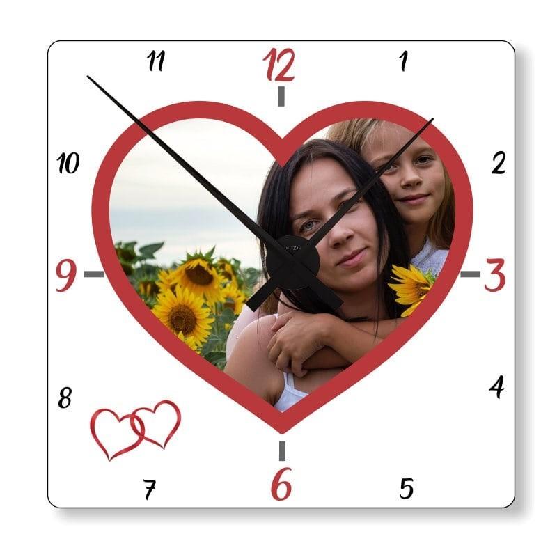 Horloge personnalisée photo cœur