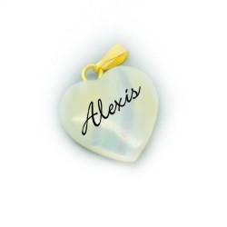 Prénom sur pendentif nacre coeur